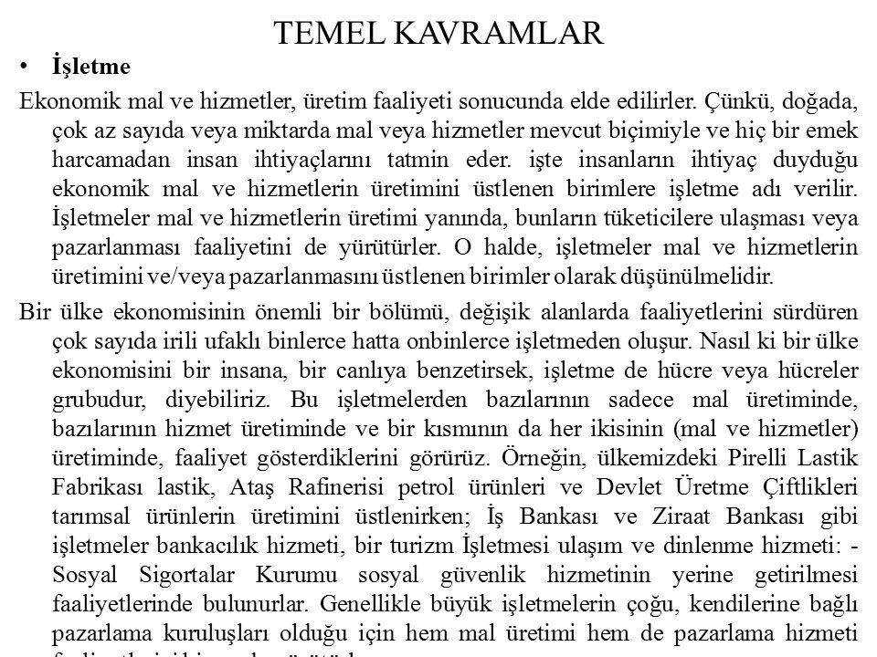 TEMEL KAVRAMLAR İşletme