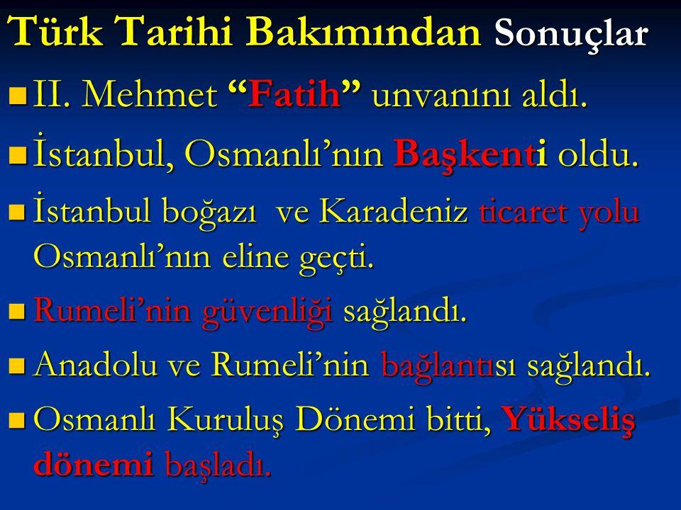 Türk Tarihi Bakımından Sonuçlar