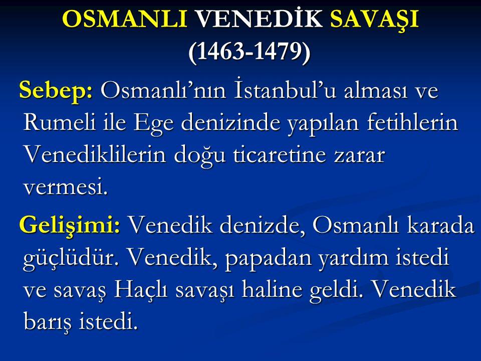 OSMANLI VENEDİK SAVAŞI (1463-1479)