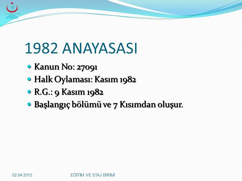 1982 ANAYASASI Kanun No: 27091 Halk Oylaması: Kasım 1982