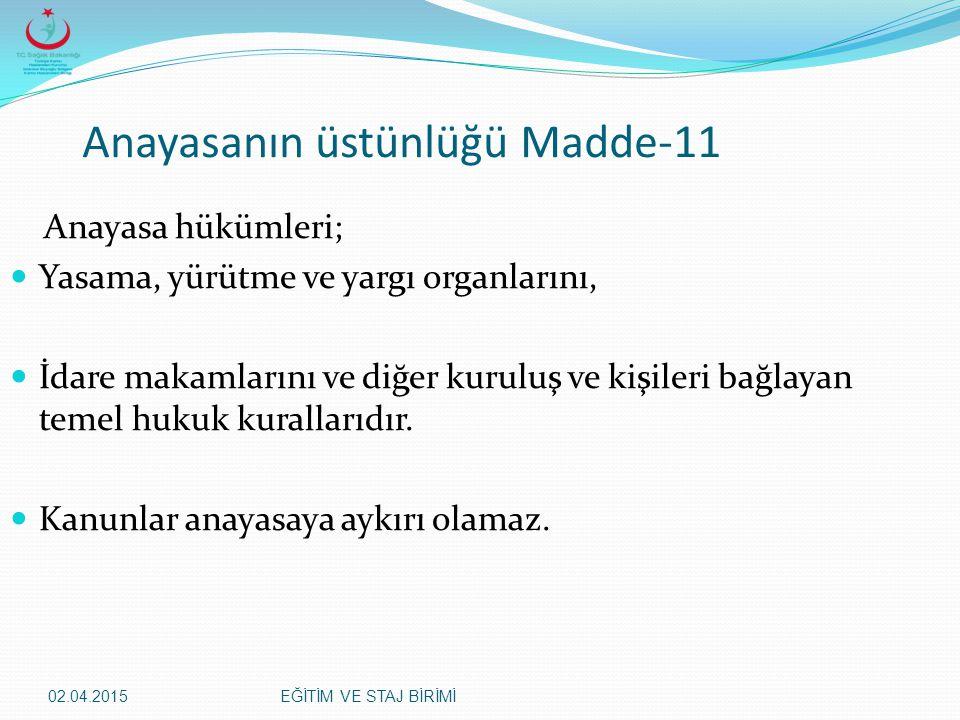 Anayasanın üstünlüğü Madde-11