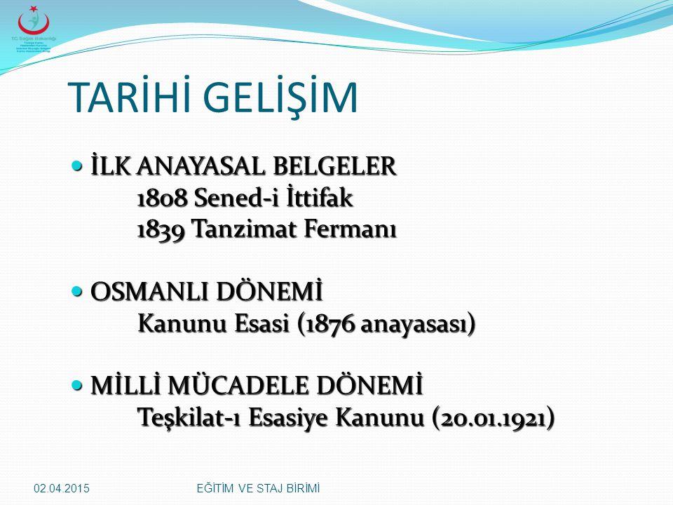 TARİHİ GELİŞİM İLK ANAYASAL BELGELER 1808 Sened-i İttifak