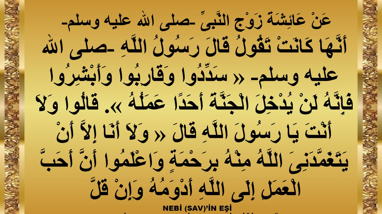 عَنْ عَائِشَةَ زَوْجِ النَّبِىِّ -صلى الله عليه وسلم-