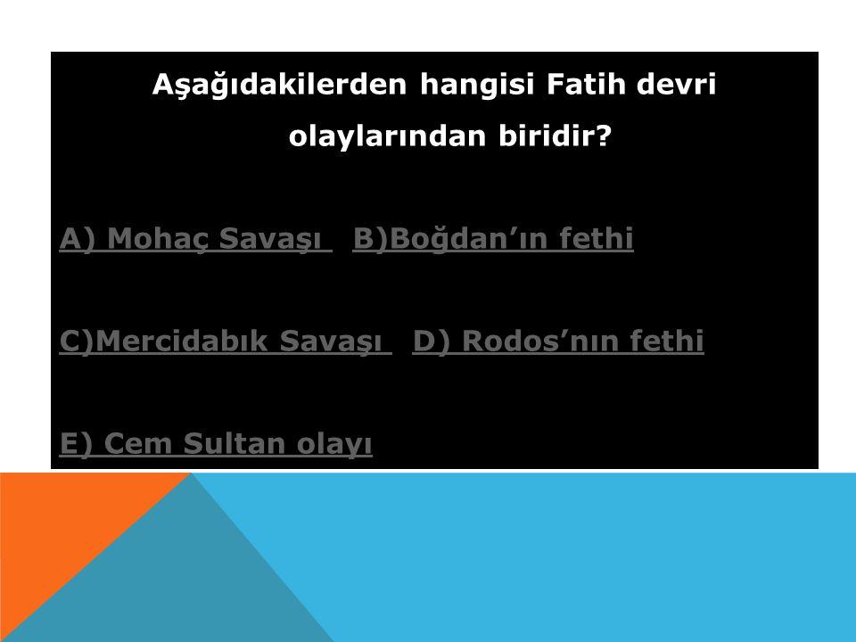 Aşağıdakilerden hangisi Fatih devri olaylarından biridir