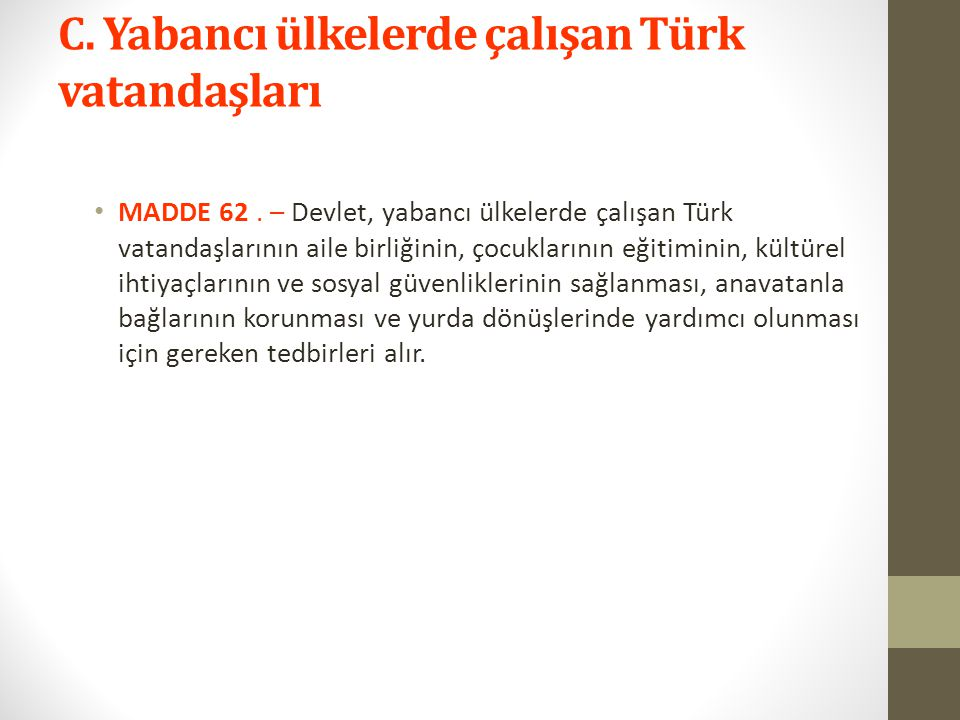 C. Yabancı ülkelerde çalışan Türk vatandaşları