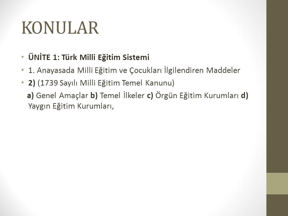 KONULAR ÜNİTE 1: Türk Milli Eğitim Sistemi