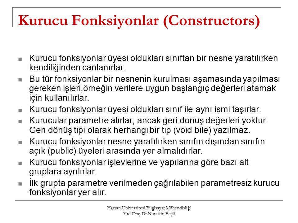 Kurucu Fonksiyonlar (Constructors)