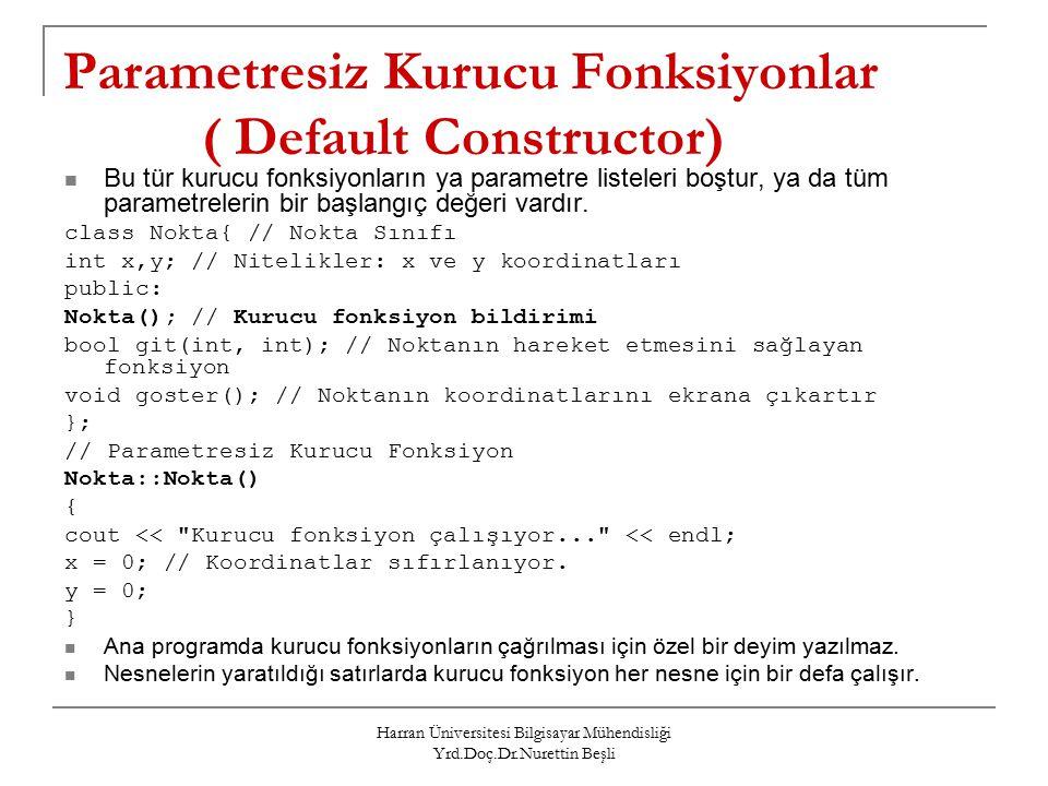 Parametresiz Kurucu Fonksiyonlar ( Default Constructor)