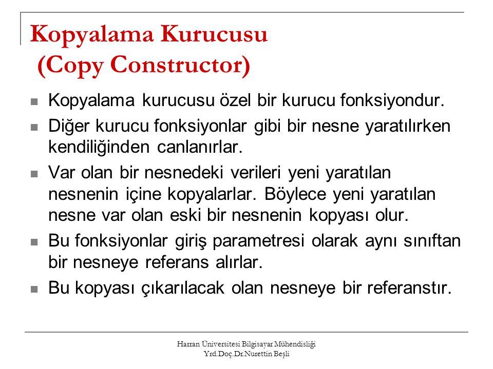 Kopyalama Kurucusu (Copy Constructor)