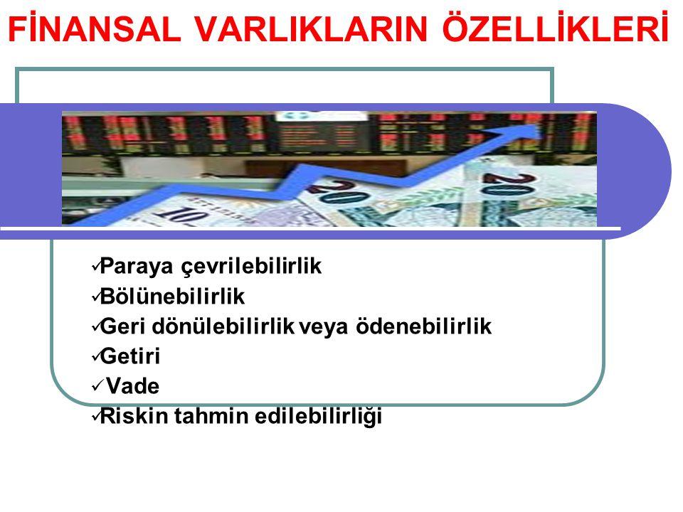 FİNANSAL VARLIKLARIN ÖZELLİKLERİ