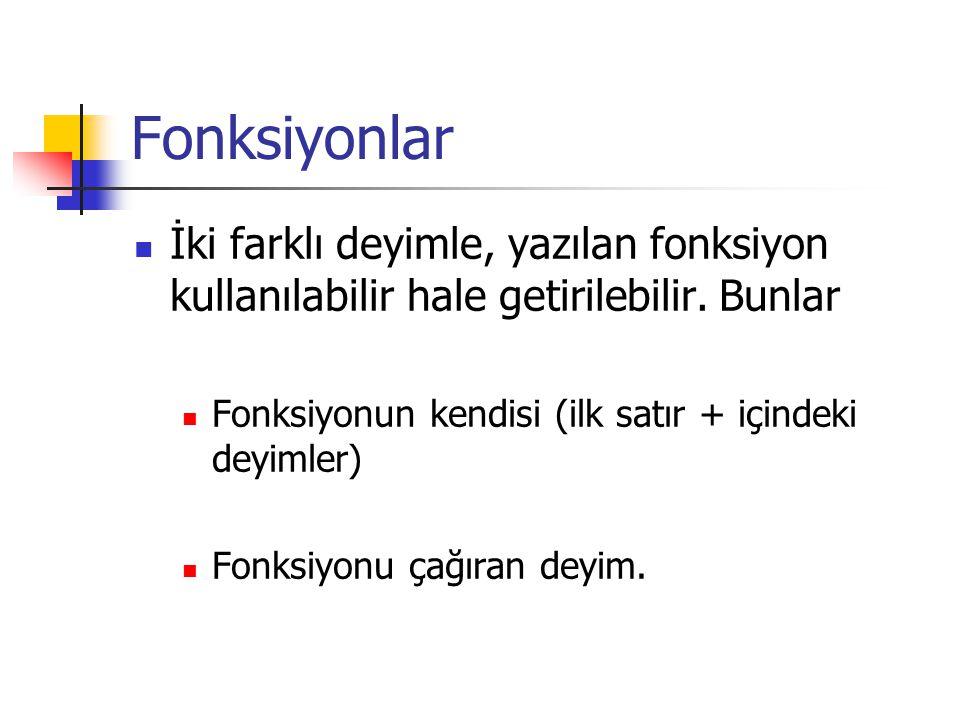 Fonksiyonlar İki farklı deyimle, yazılan fonksiyon kullanılabilir hale getirilebilir. Bunlar. Fonksiyonun kendisi (ilk satır + içindeki deyimler)