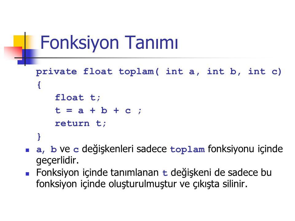 Fonksiyon Tanımı private float toplam( int a, int b, int c) { float t;