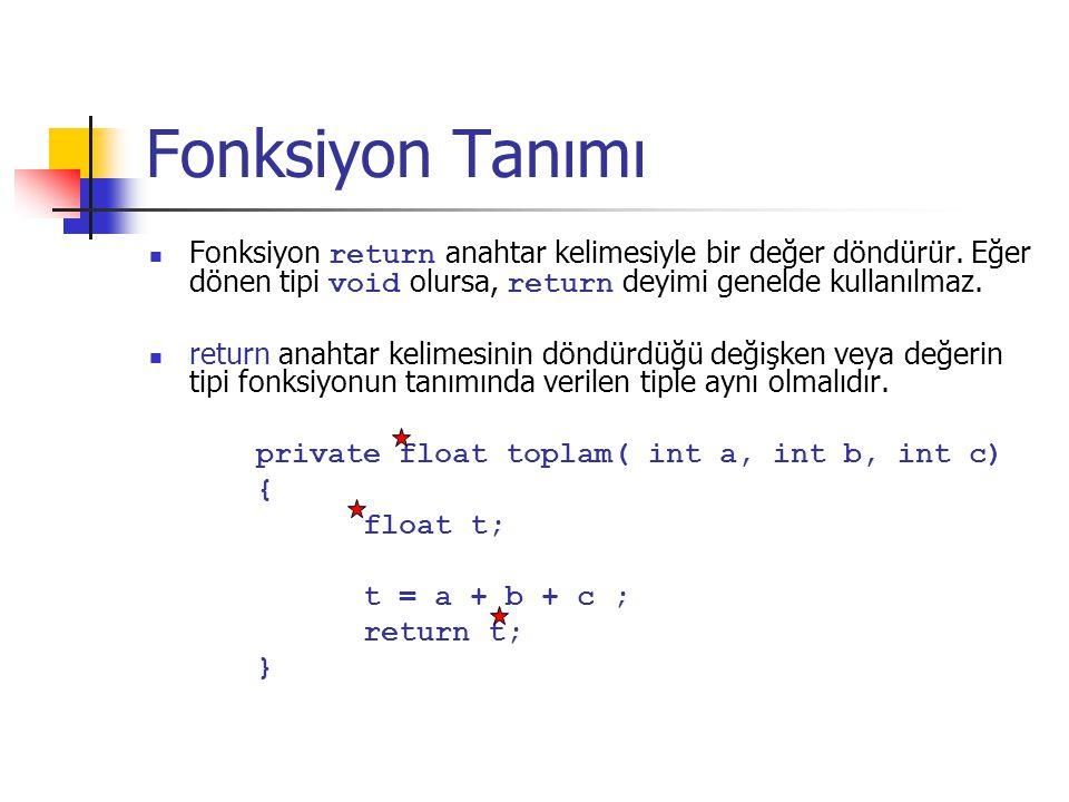 Fonksiyon Tanımı Fonksiyon return anahtar kelimesiyle bir değer döndürür. Eğer dönen tipi void olursa, return deyimi genelde kullanılmaz.