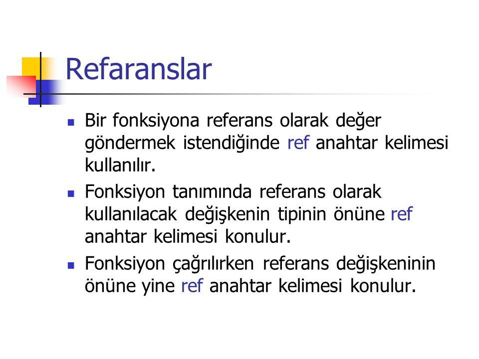 Refaranslar Bir fonksiyona referans olarak değer göndermek istendiğinde ref anahtar kelimesi kullanılır.