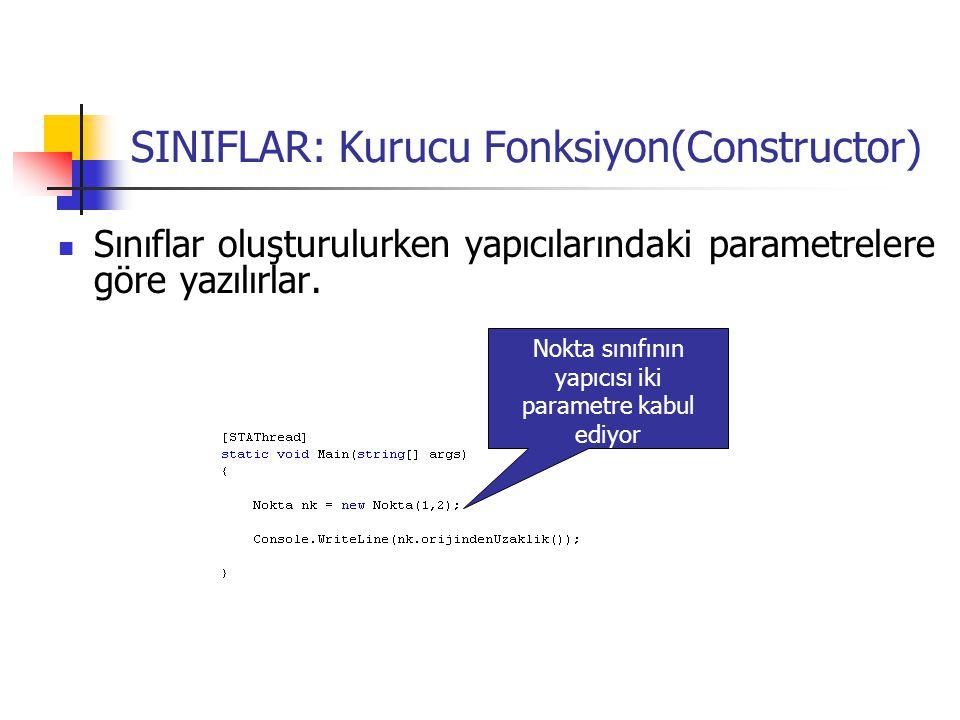 SINIFLAR: Kurucu Fonksiyon(Constructor)