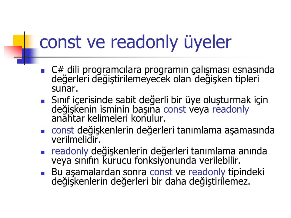 const ve readonly üyeler