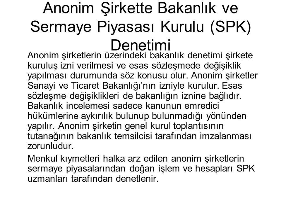 Anonim Şirkette Bakanlık ve Sermaye Piyasası Kurulu (SPK) Denetimi