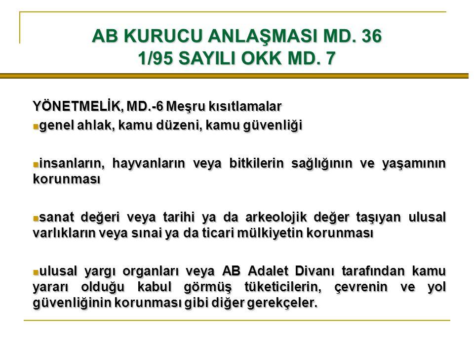 AB KURUCU ANLAŞMASI MD. 36 1/95 SAYILI OKK MD. 7