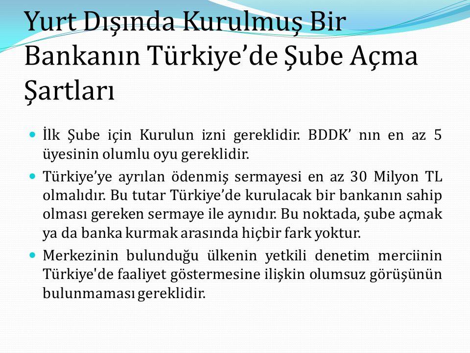 Yurt Dışında Kurulmuş Bir Bankanın Türkiye'de Şube Açma Şartları