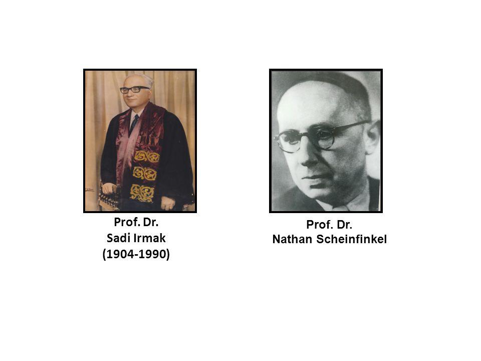 Prof. Dr. Sadi Irmak (1904-1990) Prof. Dr. Nathan Scheinfinkel