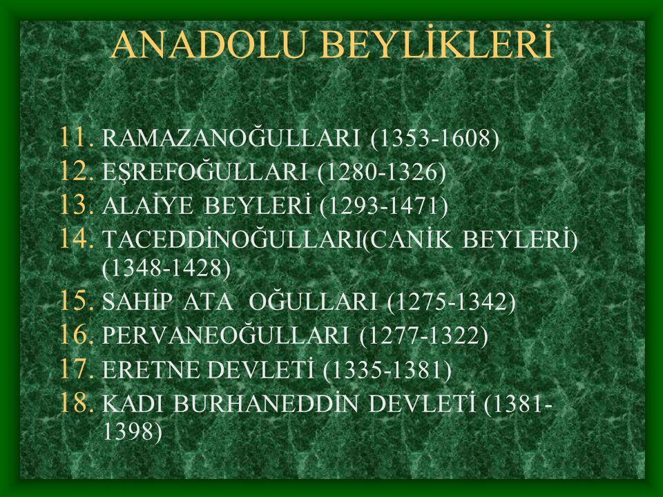 ANADOLU BEYLİKLERİ RAMAZANOĞULLARI (1353-1608)