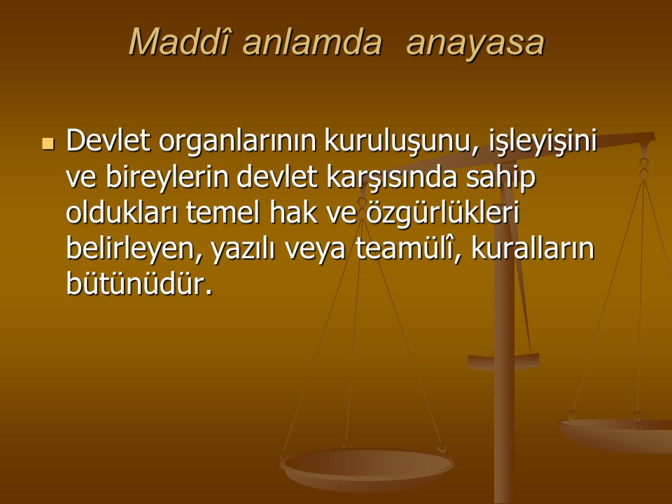 Maddî anlamda anayasa
