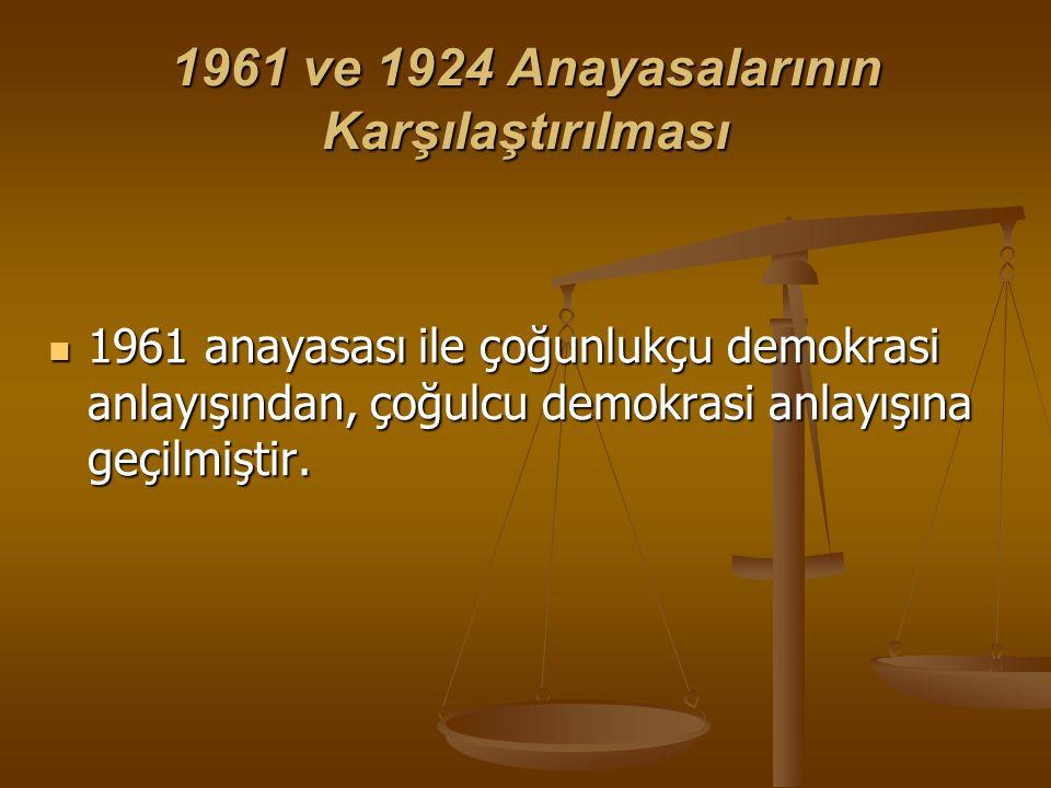 1961 ve 1924 Anayasalarının Karşılaştırılması