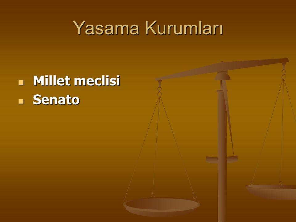 Yasama Kurumları Millet meclisi Senato