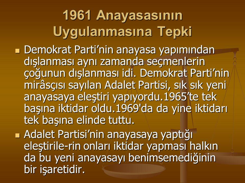 1961 Anayasasının Uygulanmasına Tepki