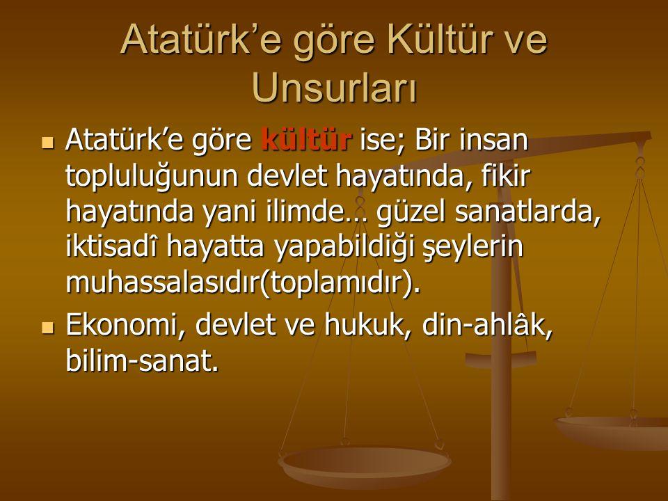 Atatürk'e göre Kültür ve Unsurları