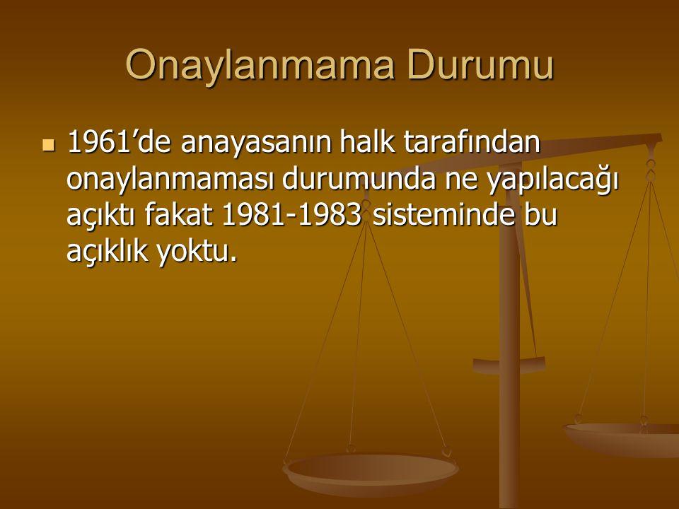 Onaylanmama Durumu 1961'de anayasanın halk tarafından onaylanmaması durumunda ne yapılacağı açıktı fakat 1981-1983 sisteminde bu açıklık yoktu.