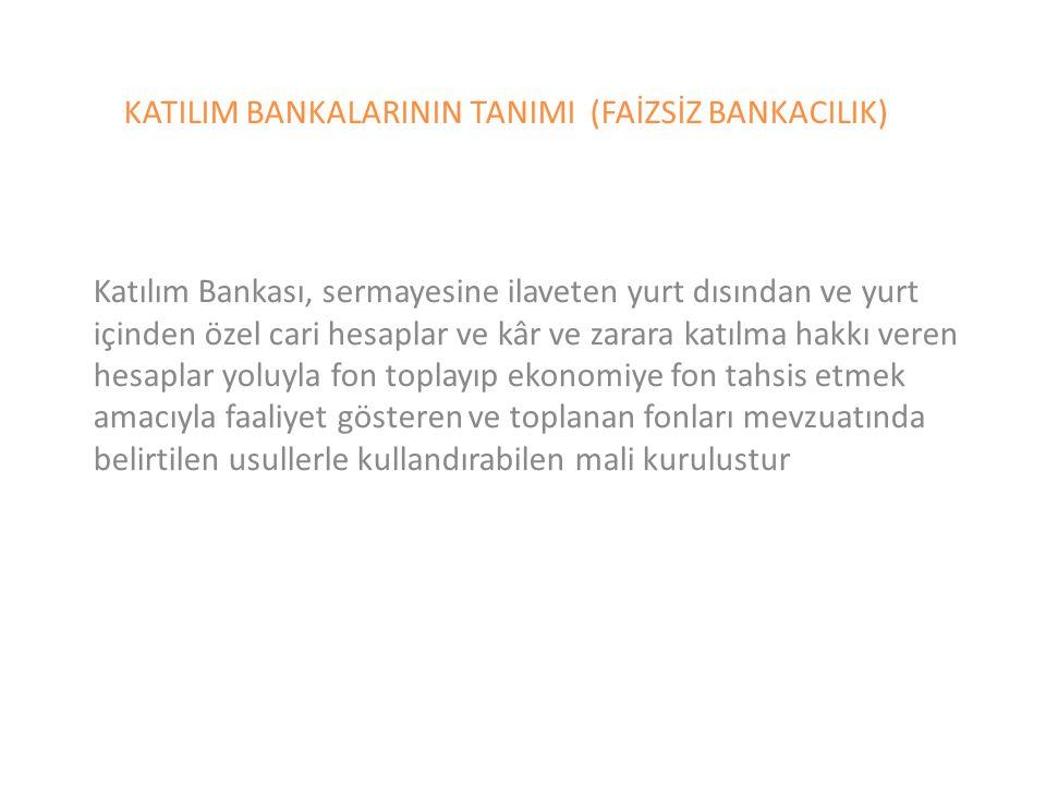 KATILIM BANKALARININ TANIMI (FAİZSİZ BANKACILIK)