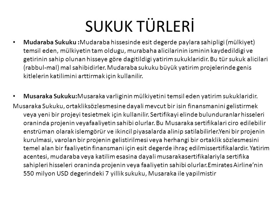 SUKUK TÜRLERİ