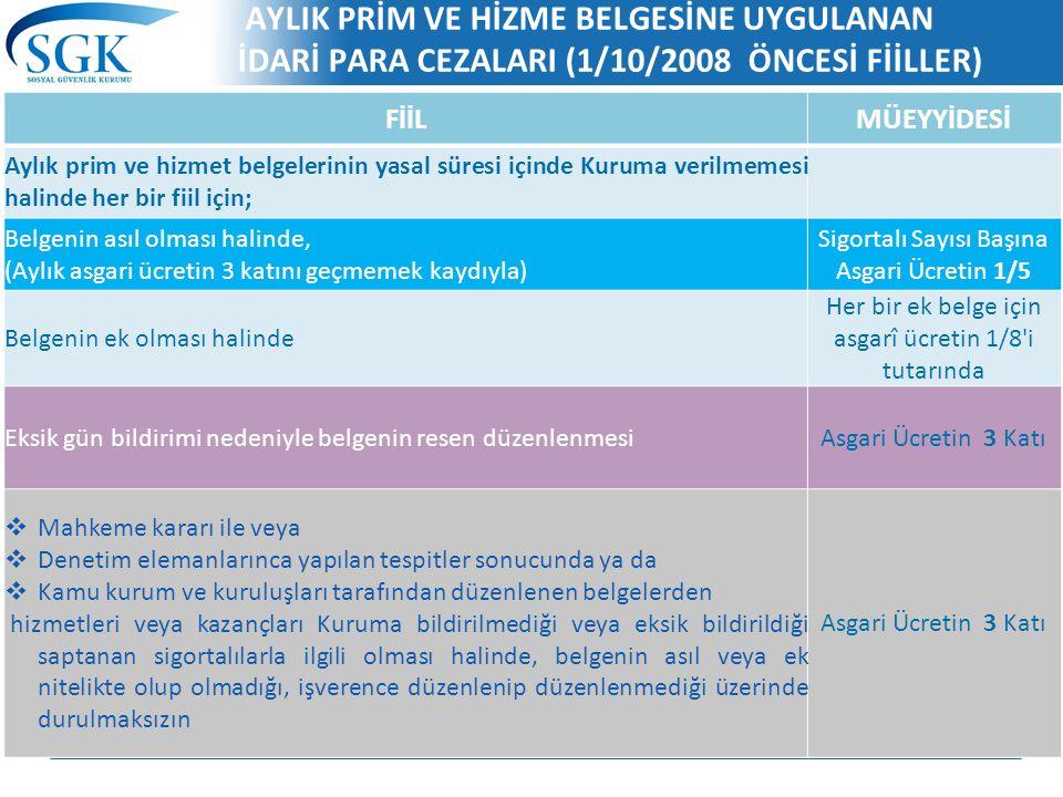 AYLIK PRİM VE HİZME BELGESİNE UYGULANAN İDARİ PARA CEZALARI (1/10/2008 ÖNCESİ FİİLLER)