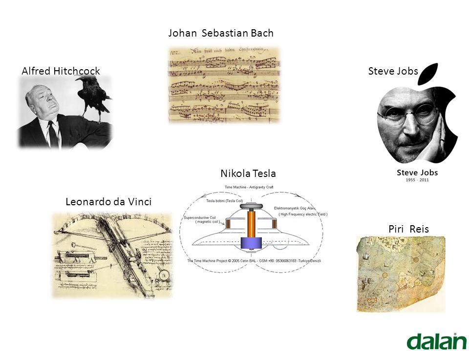Johan Sebastian Bach Alfred Hitchcock Steve Jobs Nikola Tesla Leonardo da Vinci Piri Reis