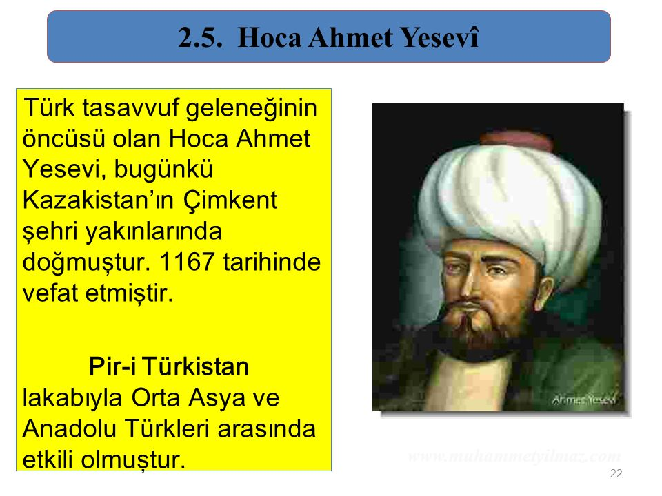2.5. Hoca Ahmet Yesevî