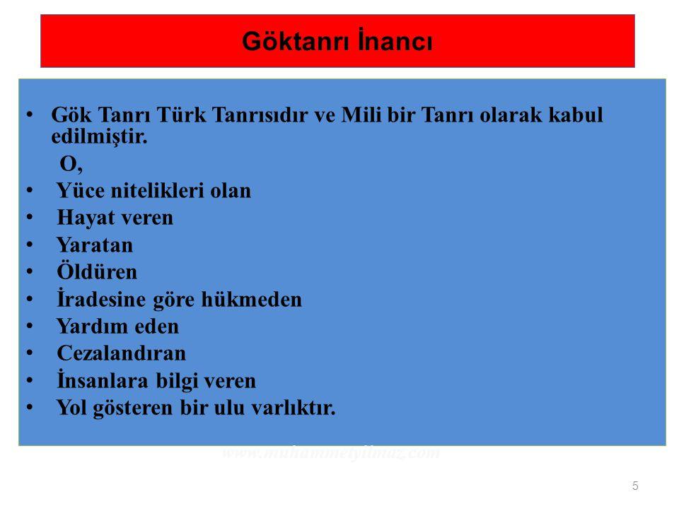 Göktanrı İnancı Gök Tanrı Türk Tanrısıdır ve Mili bir Tanrı olarak kabul edilmiştir. O, Yüce nitelikleri olan.