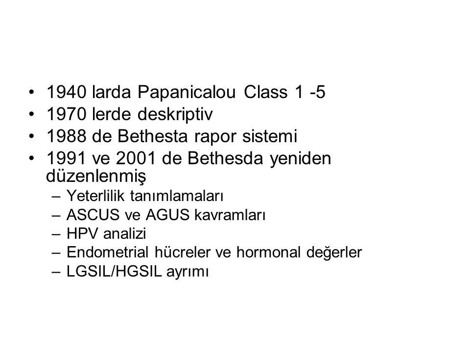 1940 larda Papanicalou Class 1 -5 1970 lerde deskriptiv