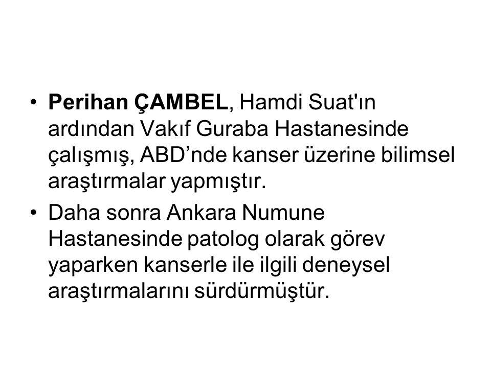 Perihan ÇAMBEL, Hamdi Suat ın ardından Vakıf Guraba Hastanesinde çalışmış, ABD'nde kanser üzerine bilimsel araştırmalar yapmıştır.