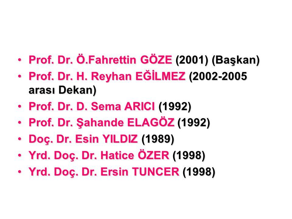 Prof. Dr. Ö.Fahrettin GÖZE (2001) (Başkan)