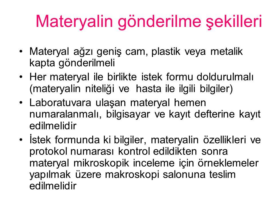 Materyalin gönderilme şekilleri