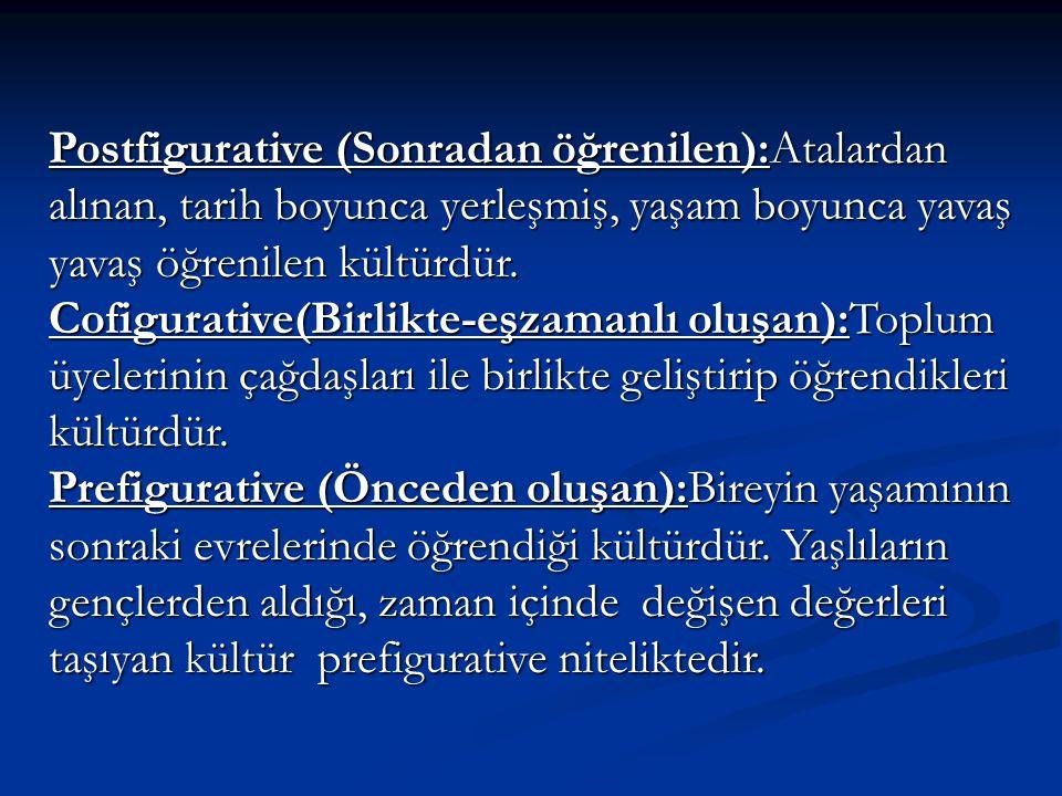 Postfigurative (Sonradan öğrenilen):Atalardan alınan, tarih boyunca yerleşmiş, yaşam boyunca yavaş yavaş öğrenilen kültürdür.