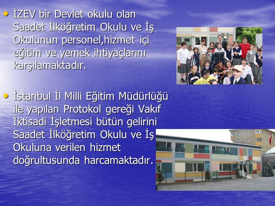 İZEV bir Devlet okulu olan Saadet İlköğretim Okulu ve İş Okulunun personel,hizmet içi eğitim ve yemek ihtiyaçlarını karşılamaktadır.