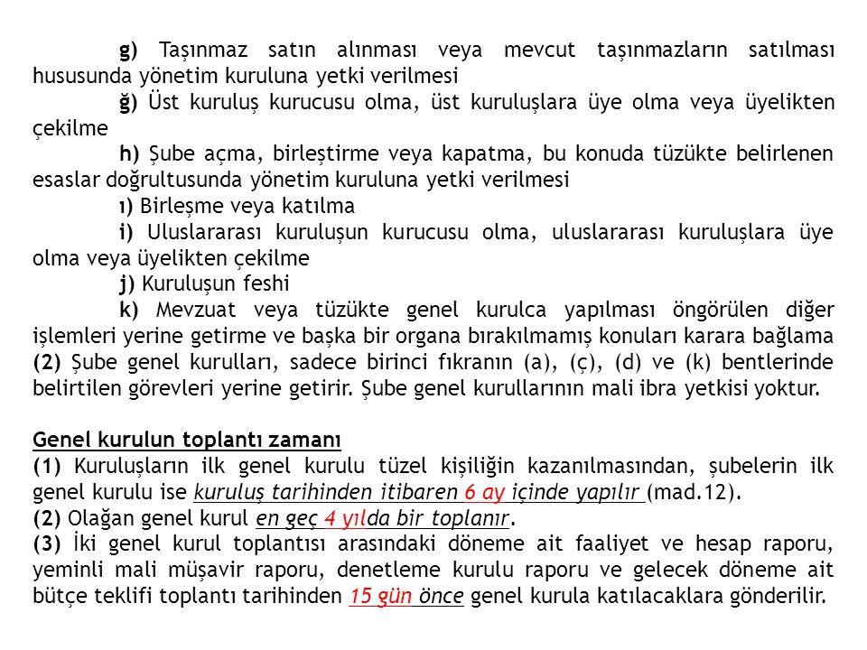 g) Taşınmaz satın alınması veya mevcut taşınmazların satılması hususunda yönetim kuruluna yetki verilmesi