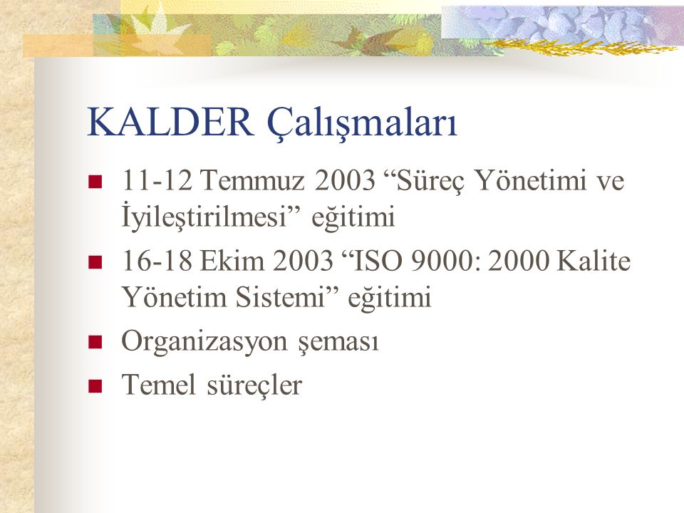 KALDER Çalışmaları 11-12 Temmuz 2003 Süreç Yönetimi ve İyileştirilmesi eğitimi. 16-18 Ekim 2003 ISO 9000: 2000 Kalite Yönetim Sistemi eğitimi.