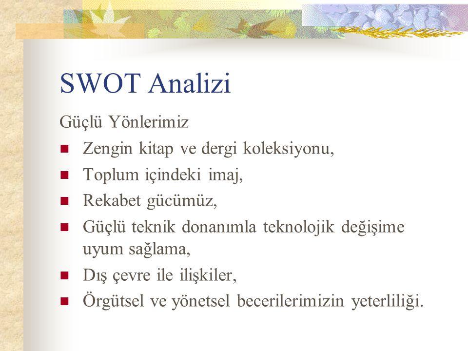 SWOT Analizi Güçlü Yönlerimiz Zengin kitap ve dergi koleksiyonu,