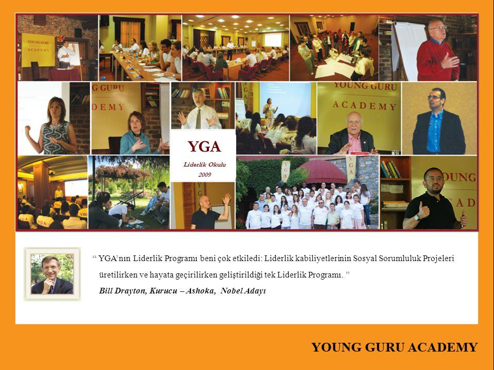 YGA Liderlik Okulu 2009. YGA'nın Liderlik Programı beni çok etkiledi: Liderlik kabiliyetlerinin Sosyal Sorumluluk Projeleri.