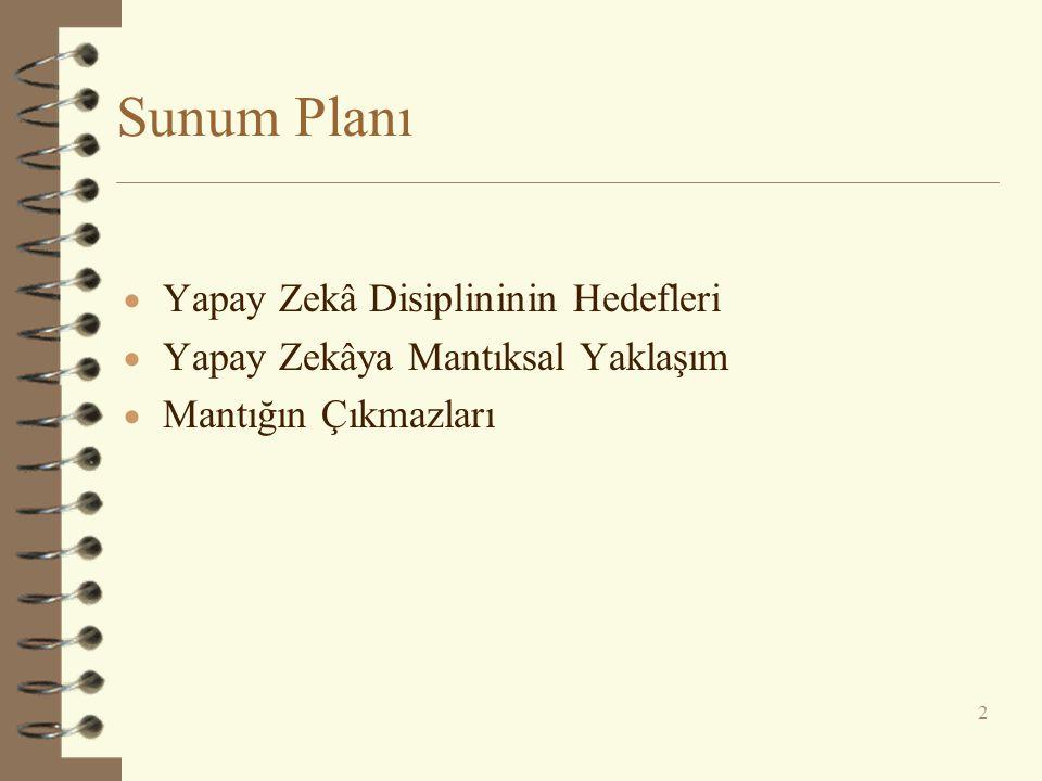 Sunum Planı Yapay Zekâ Disiplininin Hedefleri