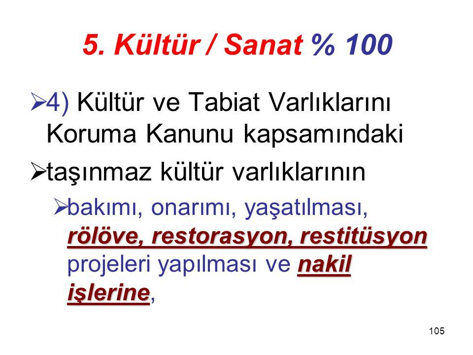 5. Kültür / Sanat % 100 4) Kültür ve Tabiat Varlıklarını Koruma Kanunu kapsamındaki. taşınmaz kültür varlıklarının.