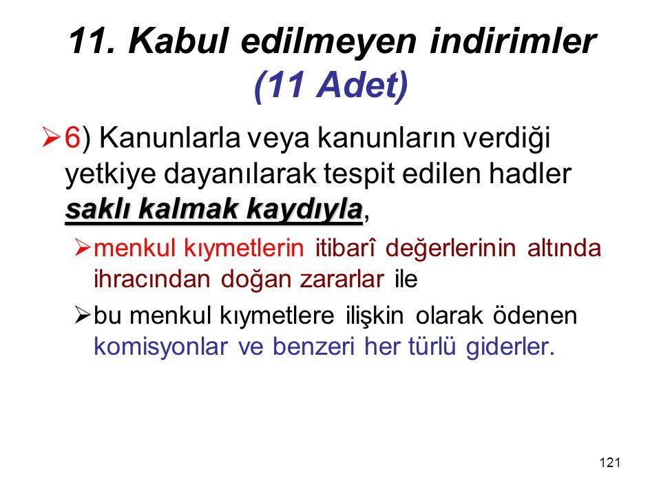 11. Kabul edilmeyen indirimler (11 Adet)